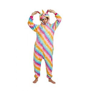 Animal Cosplay Costume Adulte Licorne Onesie Pyjamas Avant Fermeture Éclair Cosplay Vêtements De Nuit Halloween Costume (Licorne colorée, XL/Hauteur 178-195cm) (sunbaby, neuf)