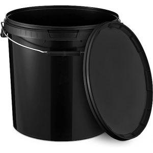 Seau avec couvercle   Noir   Seau en plastique avec anse de qualité alimentaire 20 l (lackon, neuf)