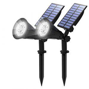 [2 Pack] LED Solaire Projecteur, T-SUN Lampe Solaire de 4 LED, Étanche Extérieur Lampe Jardin?Éclairage de Sécurité Paysage Lumière pour Chrismas Arbre, Clôture, Patio, Fête.(Blanc Froid 6000K) (T-SUNLED, neuf)