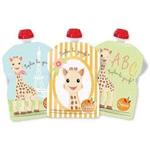 SQUIZ – lot de 3 gourdes réutilisables Sophie la Girafe 90ml – FABRICATION SUISSE (SQUIZ, neuf)