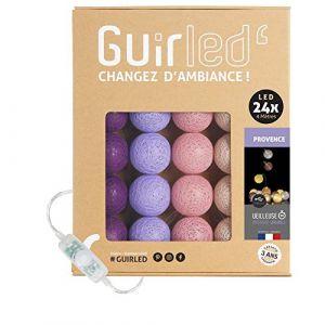 Guirlande lumineuse boules coton LED USB - Veilleuse bébé 2h - Adaptateur secteur double USB 2A inclus - 3 intensités - 24 boules 4m - Provence (Lighting Arena, neuf)