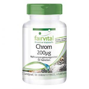 Le picolinate de chrome 200mcg de vrac, pendant 3 mois - dosage élevé - végan - 90 comprimés (Fairvital - substances vitales bioactives, neuf)