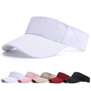 Visiere Casquette Femme - Casquette Golf, Visières Casquette de Soleil Réglable Homme Sport Hat pour Golf Cyclisme Pêche Tennis Running Vetement Golf (Blanc) (BLURBE DIRECT, neuf)
