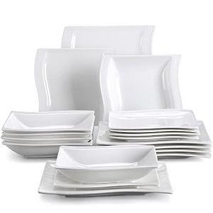 MALACASA Série Flora 18 pièces Assiettes Service de Table Porcelaine Vaisselles 6 Assiette Plate, 6 Assiette Creuse et 6 Assiettes à Dessert pour 6 Personnes Blanc Crème (BEAUTY NATURE  LIMITED, neuf)