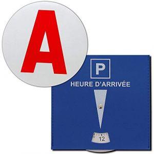Pack Horizon 2 disques homologué A Jeune conducteur adhésif et Disque de stationnement Zone Bleue en Cuire (ABBI HORIZON, neuf)