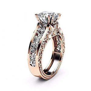 KEATTL Bague Femme,La Mode De Luxe Or Rose Argent Creux Diamant Feuilles Pierre Précieuse Engagement Anneau (7, Argent) (KEATTL, neuf)
