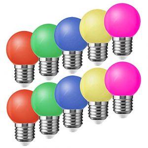 Lot de 10 E27 Ampoule Couleur LED 1W Colorful Bulb 100LM Économie d'énergie Lampe de Couleur 360° Angle AC220V-240V, Rouge, Jaune, Bleu, Vert et Rose (Suncan, neuf)