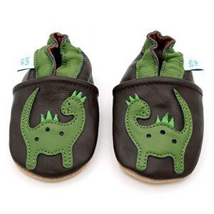 Dotty Fish - Garçons Chaussures Cuir Souple bébé et Bambin - Dinosaure Brun et Vert - 0-6 Mois (Taille 17) (Dotty Fish, neuf)