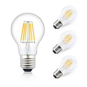 Bonlux 6W E27 Edison Ampoule LED Globe A60 AC/DC 12-24V filament ampoule vintage classic Blanc Chaud 2700K équivaut à l'ampoule halogène 75W, pour camping-car, yacht, vapeur, etc(4pcs, non-dimmable) (BionteEU, neuf)