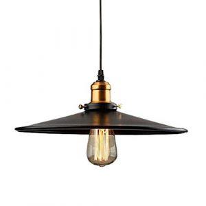 Industriel Edison E27 Suspension Luminaire de Plafond Abat-jour en Métal, Rétro Plafonniers Lustre Décoration pour Cuisine, Salon,Chambre, Couloir, Noir (36cm) (Domi Comfo, neuf)