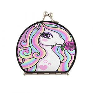 Miroir de voyage Believe Magic Beautiful Rainbow Unicorn Rose Round Compact Mirror Double face with 2 X 1x Grossissement Pliant Portable Little Pocket Mirror For Women Girls Lad (huangshifafa, neuf)