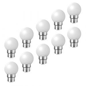 Ampoules baïonnette B22 - Paquet de 10 ampoule LED Feston 2 W (équivalent 20W), ampoule écoénergétique écoénergétique colorée blanc, petites ampoules de Noël BC Cap (HUAMu, neuf)