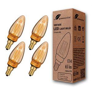 4x greenandco® Ampoule à LED Décorative Style Bougie Vintage Rétro Industriel Antique Edison E14 C35 2W 65lm 1800K (blanc très chaud) 320° 230V, aucun scintillement, non-dimmable (greenandco-fr, neuf)