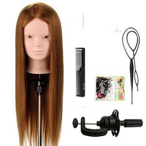 """Tfmox Têtes D'Exercice 24""""tête de mannequin de formation de cheveux pour la pratique de maquillage coiffure mannequin poupée mannequin pour la coiffure (YiLongWangLuo, neuf)"""