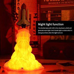 Lampe de Navette, Lampe de Fusée SUNJULY 3D Print, Veilleuse de la Navette Spatiale pour les Amoureux de Lespace Lampe de Lune Comme Décoration de Pièce [Classe énergétique A+] (UMSunny, neuf)
