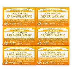 Savons magique du Dr Bronner Pure-savon de Castille, All-One chanvre agrumes orange, Bars 5 onces (pack de 6) (Ponera, neuf)