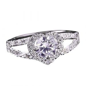 KEATTL Bague Femme,De Luxe Classique Deux Couches Placage d'Argent Diamant Forme De Coeur Zircon Se Marier Anneau La Mode Bijoux (7, Argent) (KEATTL, neuf)