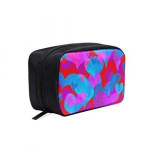 Sac de maquillage de voyage pour hommes Art Cartoon Love en forme de coeur imprimé sac cosmétique suspendu hommes sacs de livre de mode hommes petit sac de voyage sacs cosmétiques sacs multifonction (Xikanghai, neuf)