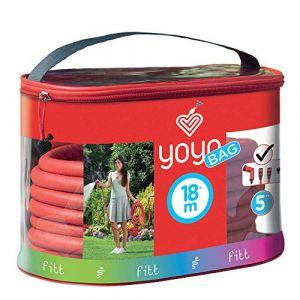 FITT YOYO Bag Tuyau d'Arrosage de Jardin Extensible pour Arrosage Professionnel avec Étui Pratique Doté de Poignée et Fermeture Éclair pour Le Transporter, Pistolet Multi-Jet, Rouge, 18 m (FITT, neuf)
