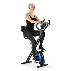 KLAR FIT Klarfit X-BIKE-700 2.0 Ergomètre Home-Trainer - Vélo Fitness Cardio, Ordinateur d'entraînement, Pulsomètre intégré, 8 Niveaux de résistance réglables, Noir-Vert (Electronic-Star-FR, neuf)