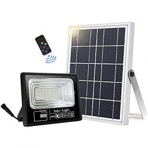49 LED lampe solaire extérieure télécommande IP66 étanche 120 ° angle d'éclairage solaire applique murale pour jardin avec câble de 16,5 ft [classe énergétique A+++] (DobeeEU, neuf)