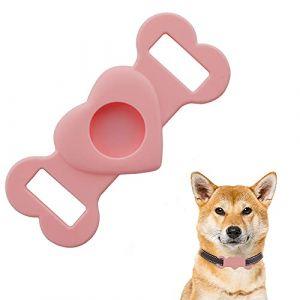 Coque de protection en silicone pour animal domestique - Pour airtags GPS - Pour chien, chat, animal de compagnie - Compatible avec Apple AirTag - Rose (PTPLIFE, neuf)