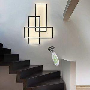 Lampe murale LED moderne chic rectangulaire à intensité variable - Abat-jour en acrylique avec télécommande - Pour salle à manger, hôtel, bureau, cuisine, couloir noir (CRISTINA HINES, neuf)