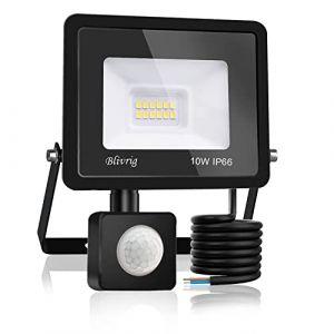 Blivrig Projecteur LED détecteur de mouvement 10W,1000LM IP66 Imperméable Spot LED Extérieur Puissant,Blanc Chaud(3000K) eclairage exterieur led pour Jardin Terrasse Garage Patio Grange Cour (Fourtry, neuf)