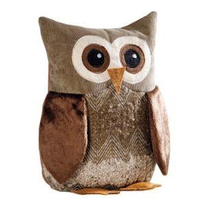 Frank Egon Chouette décorative en maille chenille, velours et peluche 100 % polyester Camaïeu de marrons Hauteur 25 cm (Media-FR, neuf)