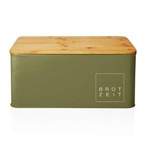 Lumaland Corbeille à Pain de Cuisine en métal avec Couvercle en Bambou, rectangulaire, ca. 30,5 x 23,5 x 14 cm Vert d'herbe (Lumaland Vertriebs GmbH, neuf)