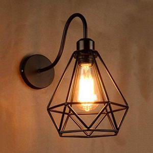 Mengjay Lampe Applique Murale Forme de Diamant Fer Forgé Cadre Cage Métal Wall Light Rétro Industrielle Lampe Mur E27 220v (Geste shop, neuf)