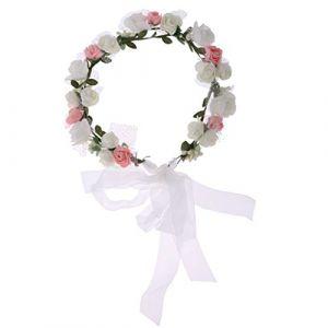 Hellery Tête De Mariage Fleur Fille Mariage Floral Bandeau Cheveux Guirlande Front Décor - Rose (Hellery FR, neuf)