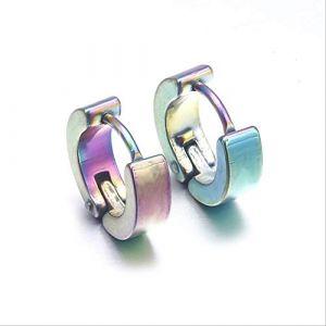 Boucles d'oreille pour femmes anti-allergique boucle en acier au titane marée boucle d'oreille en acier inoxydable punk mâle et femelle boucle fille cadeaue0213 multicolore (Graceguoer, neuf)