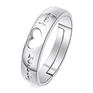 Sanwood® pour femme/homme plaqué argent zircon Couple Bague de fiançailles, Silver, for Men (Broadfashion, neuf)