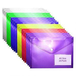 Pochette Porte-Document à Bouton Pression (Lot de 24) - Chemise Transparente A5 en Plastique de 6 Couleurs Différentes - Pochette à Rabat avec Porte Carte pour vos Documents, Certificats et Recettes (Tinyyo Europe, neuf)