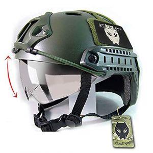 ATAIRSOFT SWAT Style Militaire de l'armée Combat PJ Casque Rapide mit Lunettes de Protection OD Vert pour CQB Tir Airsoft (WorldShopping4U, neuf)