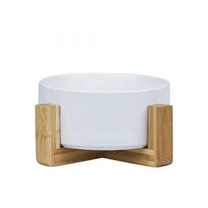HCHLQLZ Blanc Pet Gamelles pour Chien et Chat Gamelles Chien Chat Céramique Support Bambou -Va au Lave-Vaisselle et Facile à Nettoyer (Hetoco, neuf)
