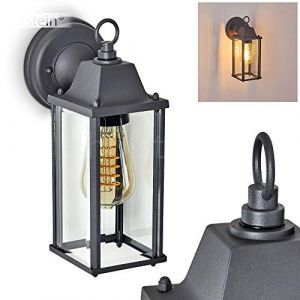 Applique d'extérieur Hialeah en métal anthracite et verre, applique murale rétro idéale pour une entrée vintage, lanterne pour 1 ampoule E27 max. 40 Watt, compatible ampoules LED (hofstein, neuf)