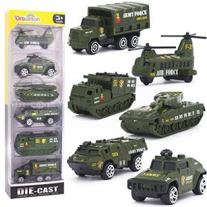 Dreamon Jouet Véhicule Militaire en Plastique et en métal avec 6pcs Mini Modèles Voitures Classiques pour Enfants de 3 4 5 Ans (Dreamon Toy, neuf)