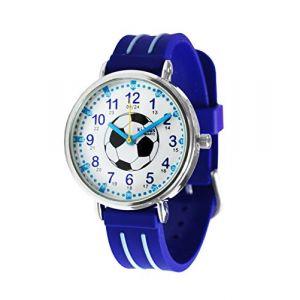 KIDDUS Montre Bracelet Éducative pour Enfants, garçon. Time Teacher Analogique avec Exercices. Mécanisme en Quartz Japonais. Facile d'Apprendre à Lire l'Heure. Football KI10323 (Kiddus, neuf)