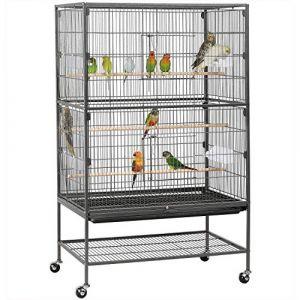 Yaheetech Grande Volière pour Oiseaux Cage sur roulettes Canaries Perroquet Perruches Cacatoès Ara 2 Étages (Yahee365, neuf)