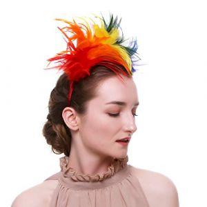 Beito 1pc femmes Bandeau à plumes Halloween plumes colorées bibi Coiffe Charme Head Décoration Pour Party Fancy (hiro&sakura, neuf)