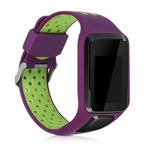 kwmobile Bracelet Compatible avec Tomtom Adventurer/Runner 3/Spark 3/Golfer 2 - Bracelet de Rechange en Silicone pour Fitness Tracker Violet-Vert (KW-Commerce, neuf)