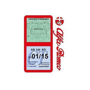 Générique Étui Double Assurance Alfa Roméo Rouge Porte Vignette adhésif Voiture Stickers Auto Retro (Stickers-auto-retro, neuf)