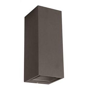 Applique murale d'extérieur Forme carrée Douille GU10 – Aluminium anthracite – Pour ampoule LED ou halogène – IP54 – Éclaire vers le haut et vers le bas (LEDmich, neuf)