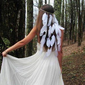 Coiffe de plumes LAINGJIEWhite mariage bohème bandeau de plumes de mariée coiffe de mode (PuFengWangLuoKeJ, neuf)