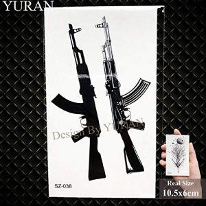 Nouveau pistolet noir hommes Fashoin autocollants de tatouage femmes corps bras tatouage temporaire AK fusil imperméable à l'eau tatouages ??sniper transférable [GSZ038] (WolfRule EU, neuf)