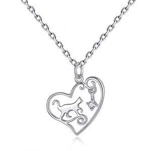 VIKI LYNN Collier argent pendentif chat mignon bijoux femme en argent fin 925 et zircon cadeau parfait pour les femmes filles (chat 5) (VIKI LYNN Direct, neuf)