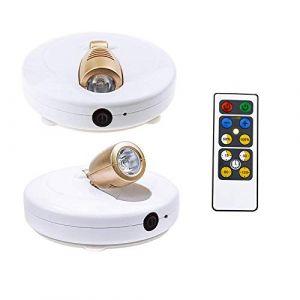 HONWELL Projecteur à piles à LED pour Plafonniers/Murs/éclairage de Placard/Couloir, éclairage Télécommandé, Applique Murale Rotative à 180 °,Convient pour l'intérieur Partout,2 Pièces (honwell, neuf)