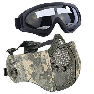 Aoutacc Airsoft de Protection Gear Set, à moitié Visage Maille Masques avec Protection Auditive et Ensemble de Lunettes pour CS/la Chasse/Paintball/Prise de Vue, ACU (MeiLu, neuf)